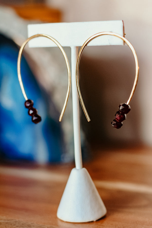 Horseshoe Earring with Garnets