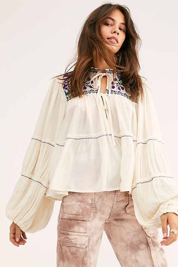 In Vivid Color Boho Top