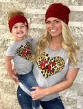 Kid's RED Leopard Bundle (with kids CC Messy Bun Beanie!)
