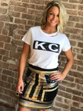 White KC Bar Slash Tee