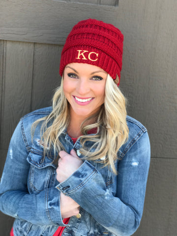 KC Red CC Beanie (no pom)