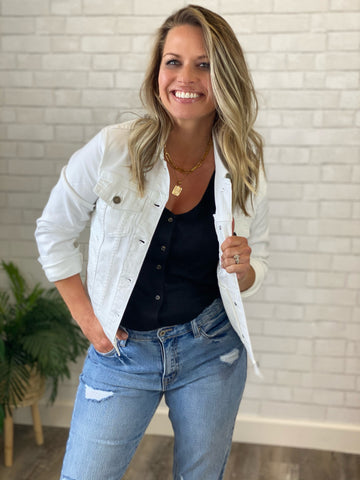 Blakely- White Stretchy Jean Jacket