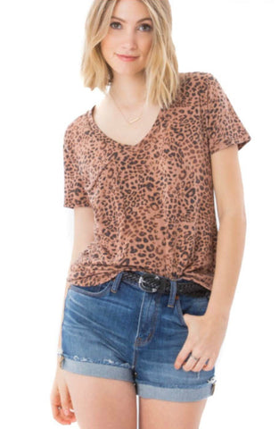 Leopard V-Neck Pocket Tee