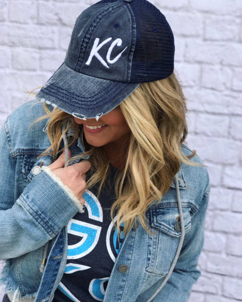 Navy Distressed KC Hat-FINAL SALE
