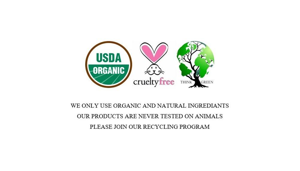 Never test on animals, organic, recycle