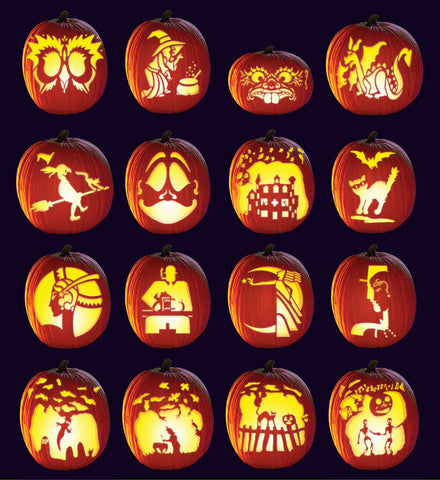 16 carved pumpkins