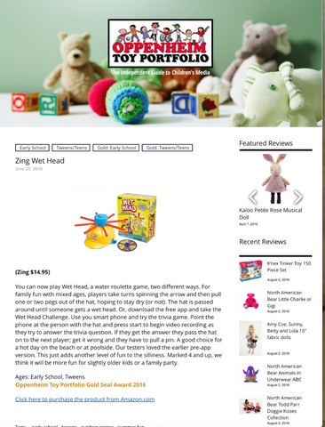 Oppenheim Toy Portfolio Gold Seal Award 2016