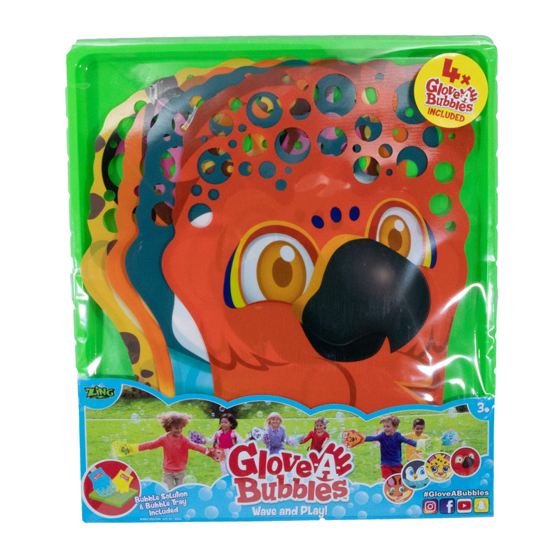 GLOVE-A-BUBBLES 4 PACK: Parrot, Fox,Penguin, Cheetah