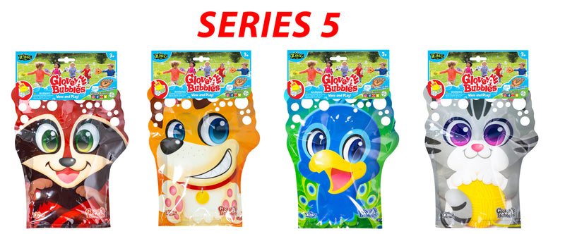 Glove-A-Bubble 4 pack - 1 Dog, 1 Cat, 1 Racoon, 1 Peacock