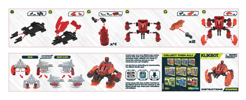 Klikbot Megabot (Transforming Mega Vehicle with Klikbot) 3 Pack Bundle
