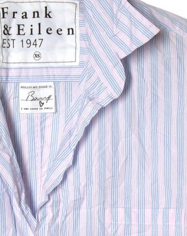 Barry - Italian Poplin Multi Stripe Pink and Blue