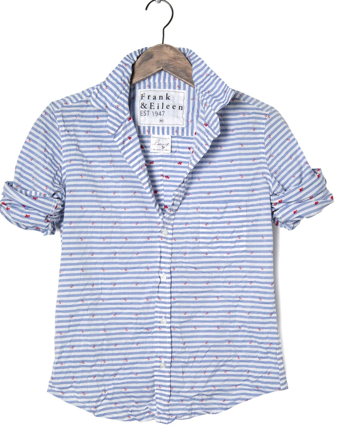 Frank & Eileen - BLUE HORIZONTAL STRIPE WITH RED ANCHOR, ITALIAN POPLIN