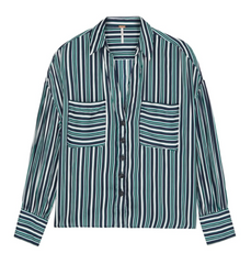 Mad About Buttondown - Ivory and Red Black Stripes