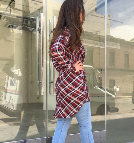 Morrison Grey - Cavalier Dress Duster - Plaid Red & Black - 50% off
