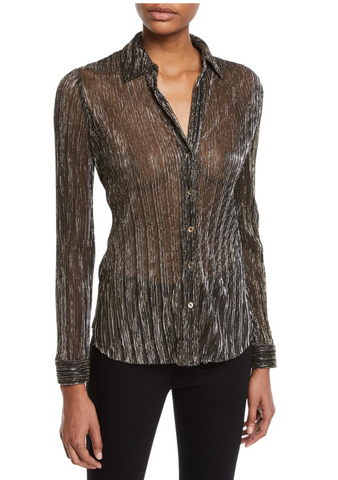 L'Agence Nina Long-Sleeve Metallic Button-Front Blouse