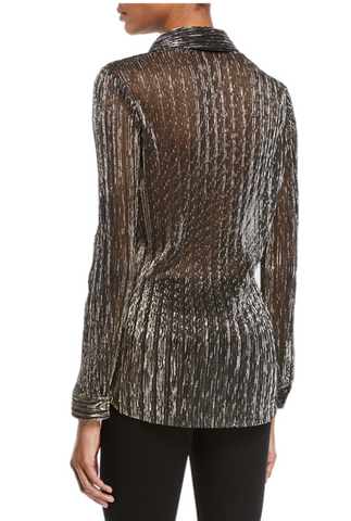 L'Agence - Nina Long Sleeve Blouse - Gold Metallic - 50% off