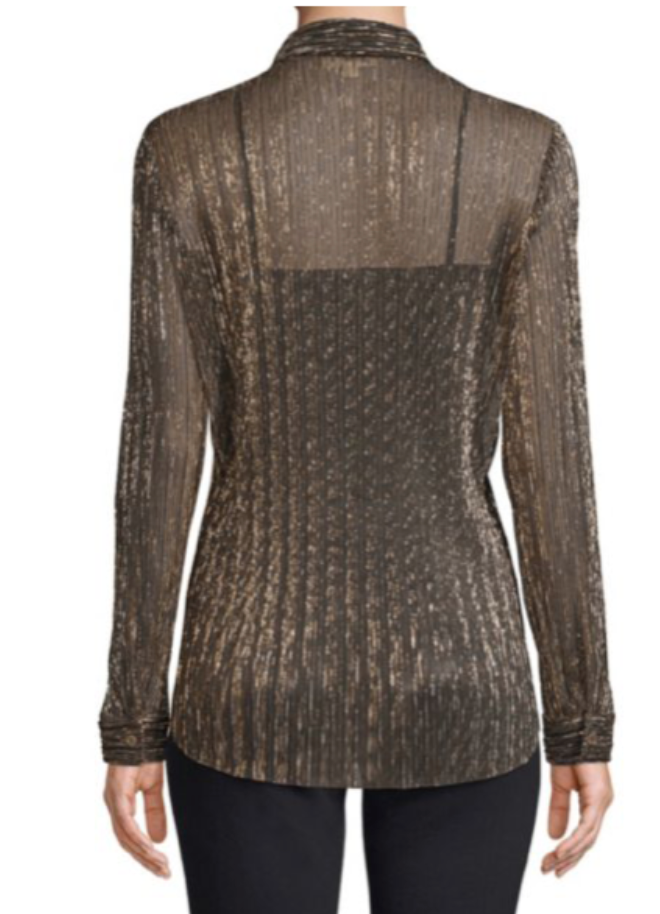 Nina Long Sleeve Blouse - Gold Metallic