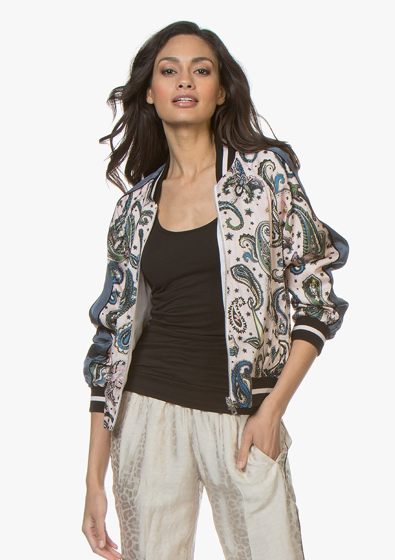 Zadig & Voltaire Billy Reversible Paisley Bomber Jacket - Corolle Pink