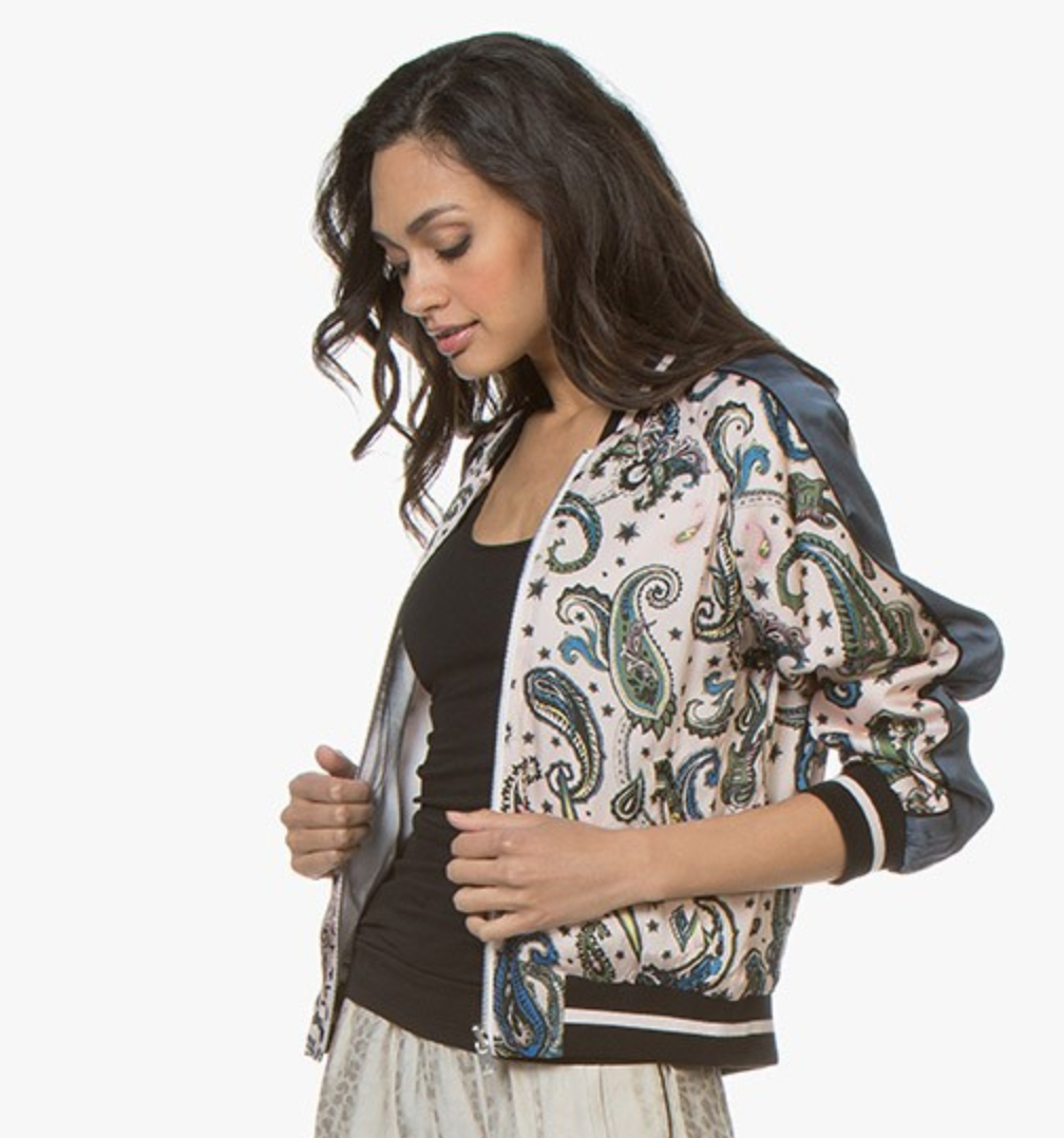 Billy Reversible Paisley Bomber Jacket - Corolle Pink