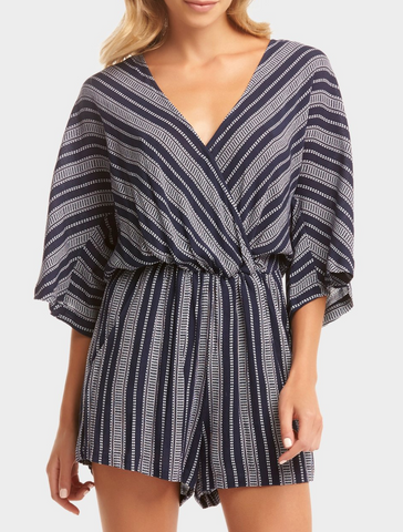 Bri Romper - Dot Stripe Blue