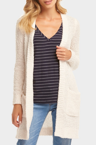 Lena Varsity Stripe V Neck - Snow White