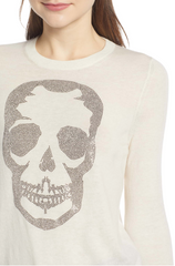 Miss CP Skull Cashmere Sweater - Creme