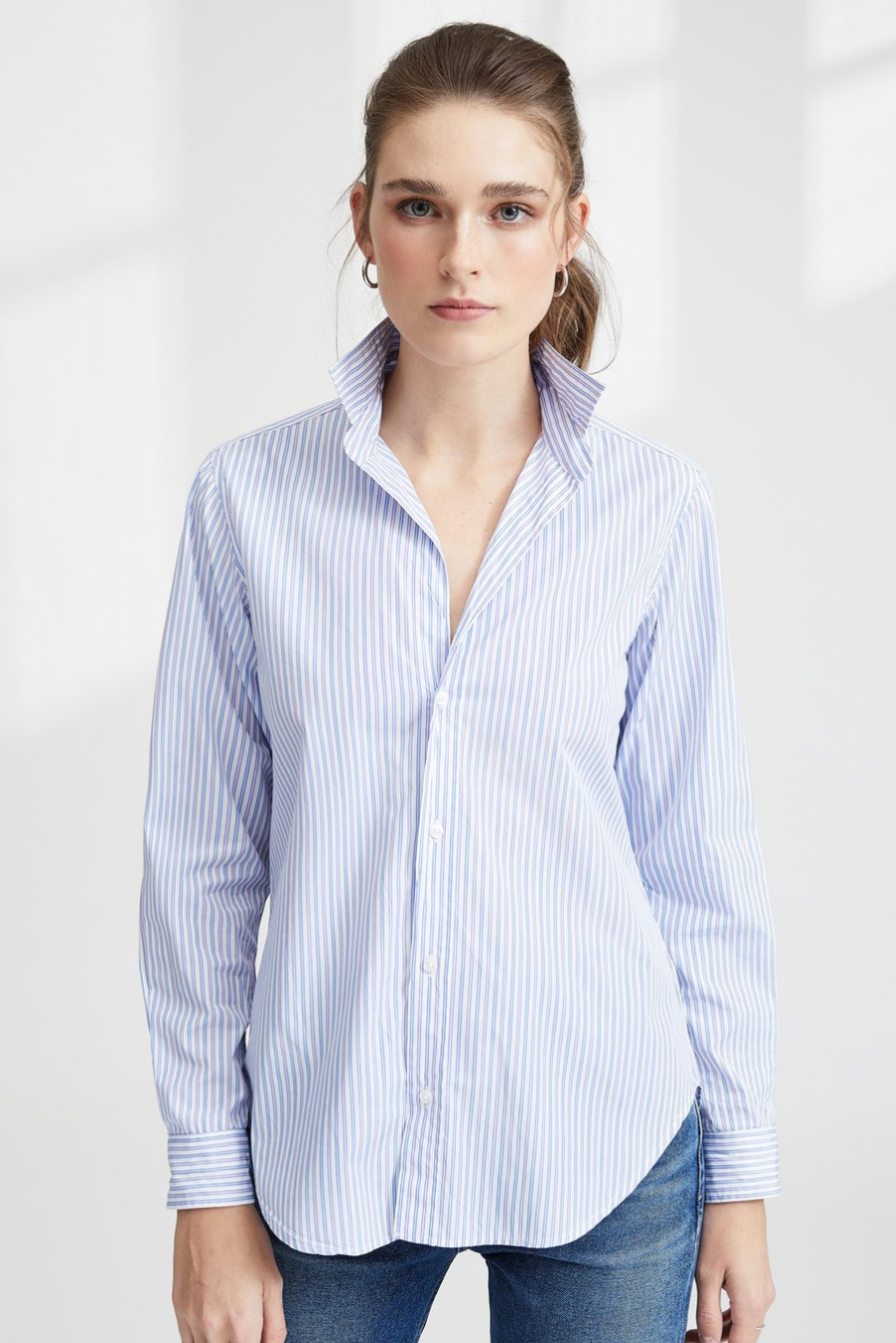 WHITE WITH PINK, LIGHT BLUE AND BLUE STRIPE, ITALIAN SUPER FINE POPLIN