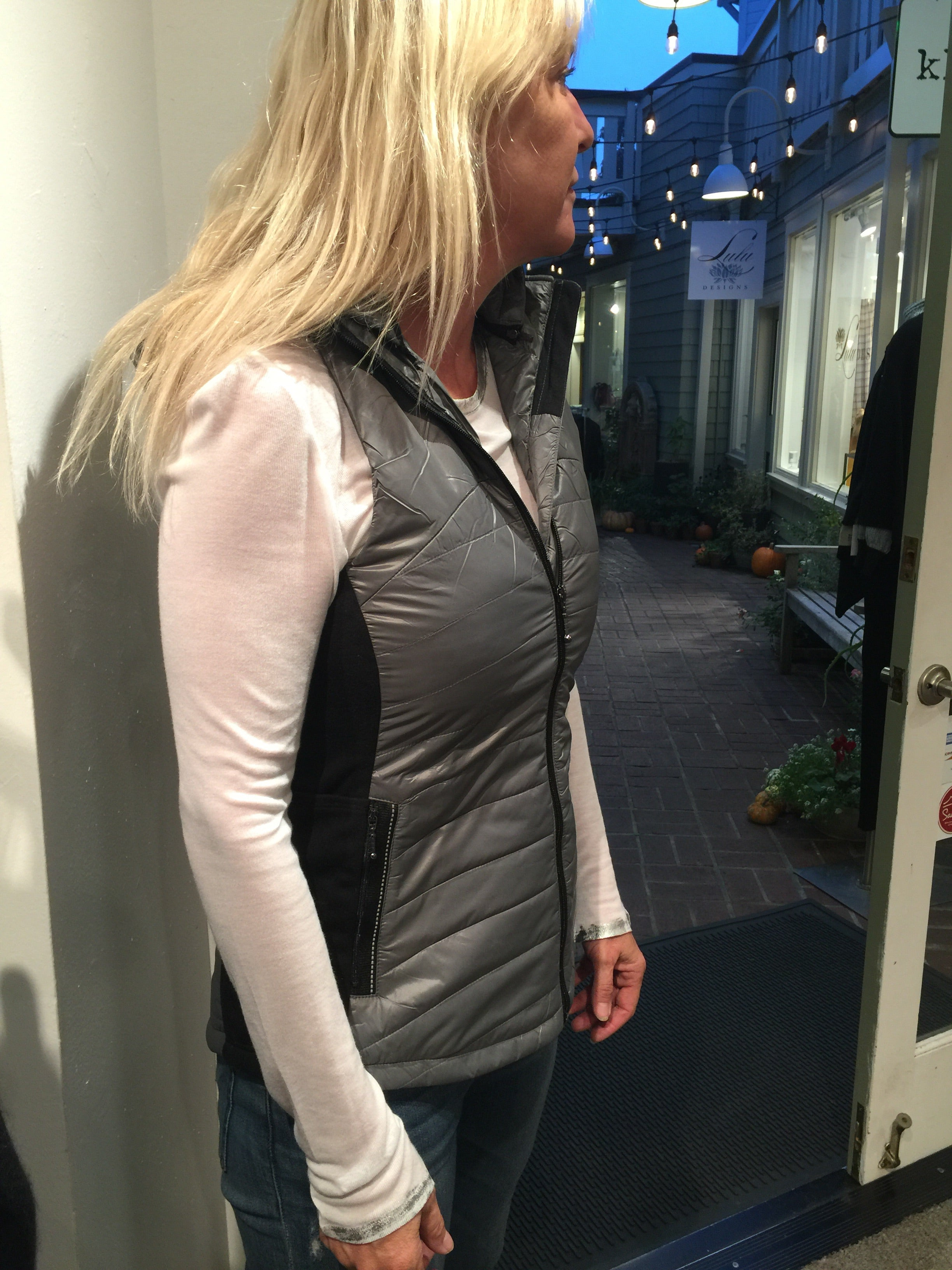 Missy Nylon Vest - Gunmetal or White with Black Panels