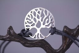Sterling Silver Tree of Life Unisex Adjustable Bracelet