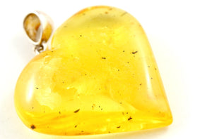 Yellow Baltic Amber Heart Pendant with Insects front