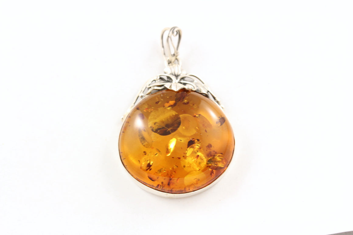 Baltic Amber and Sterling Silver Classical Pendant