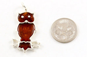 Baltic Amber and Sterling Silver Owl Pendant side view