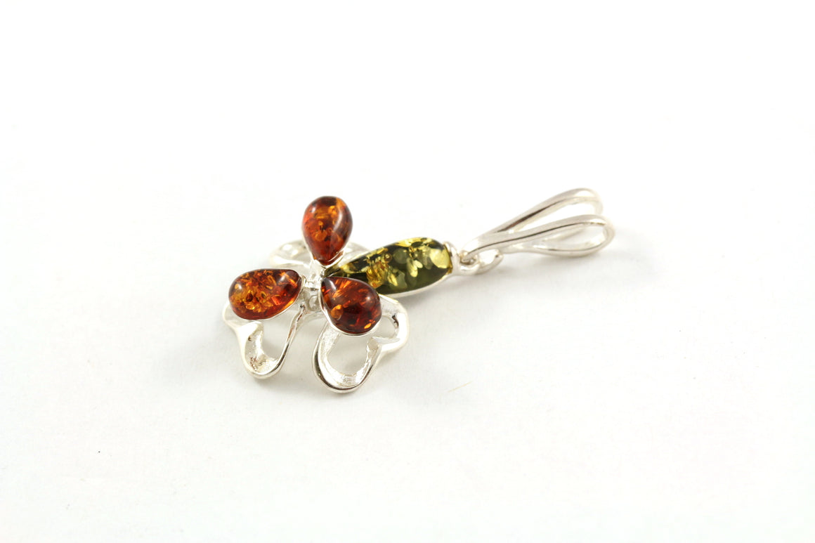 Small Baltic Amber and Sterling Silver Orchid Flower Pendant