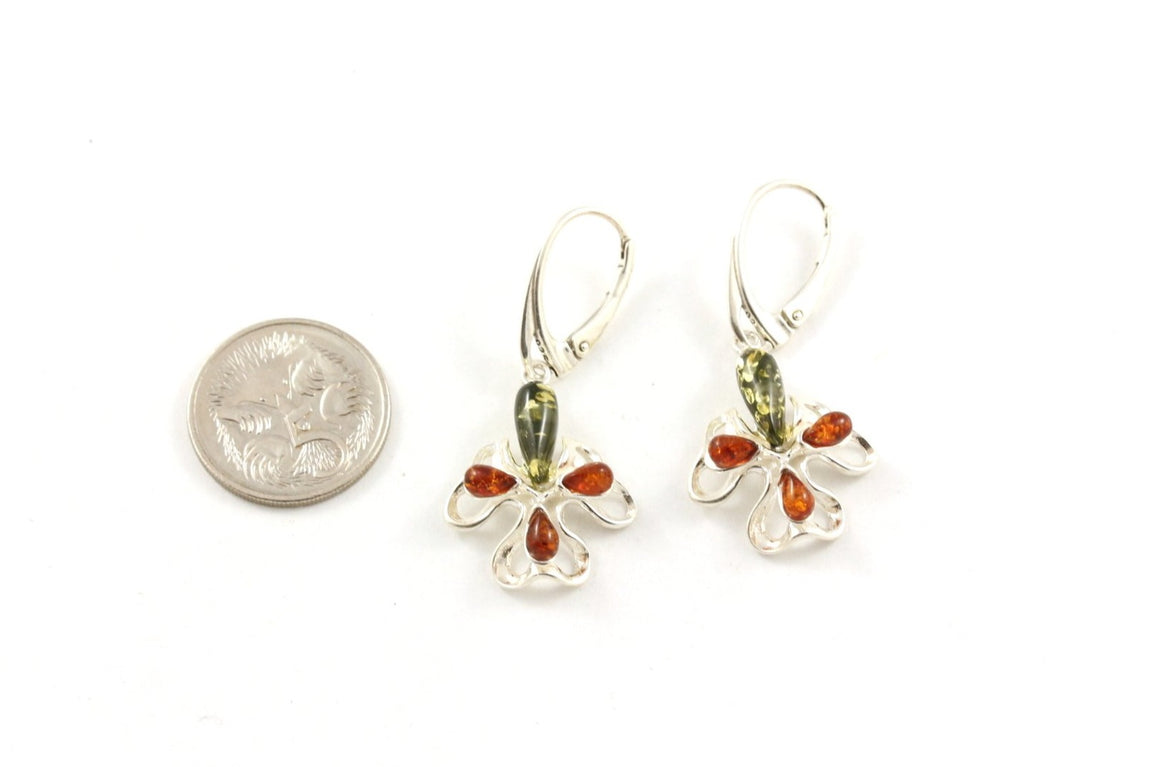 Baltic Amber and Sterling Silver Orchid Flower Earrings