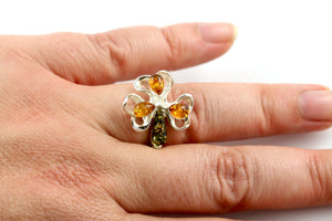 Baltic Amber and Sterling Silver Orchid Flower Ring