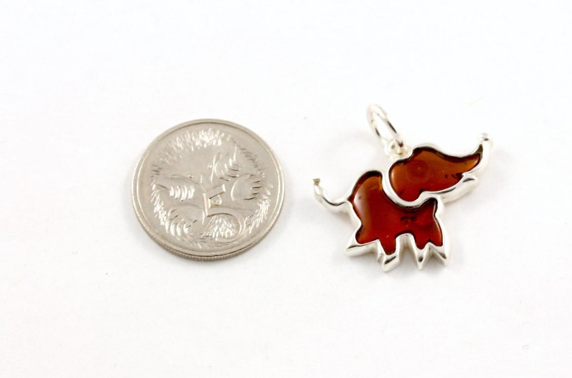 Baltic Amber and Sterling Silver Lucky Elephant Pendant