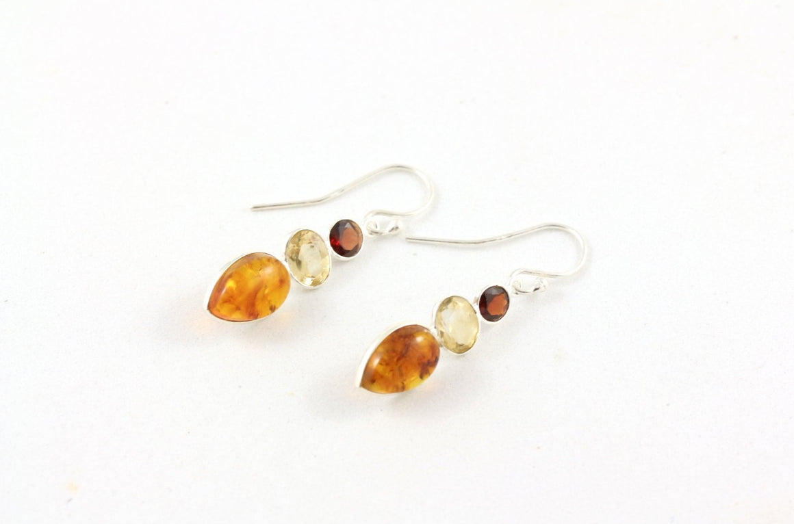Baltic Amber, Garnet, Citrine and Sterling Silver Earrings front view