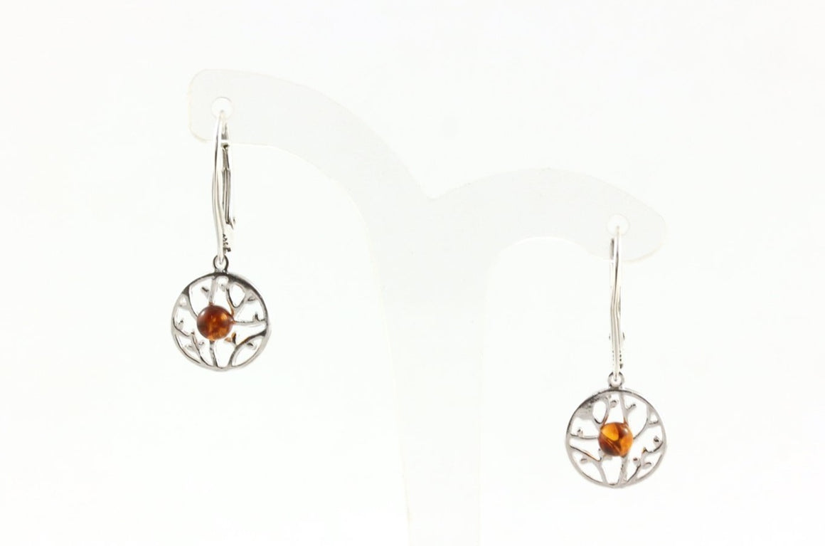 Baltic Amber and Sterling Silver Tree Earrings