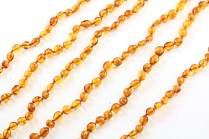 Baltic Amber Bean Bead Necklace multi view