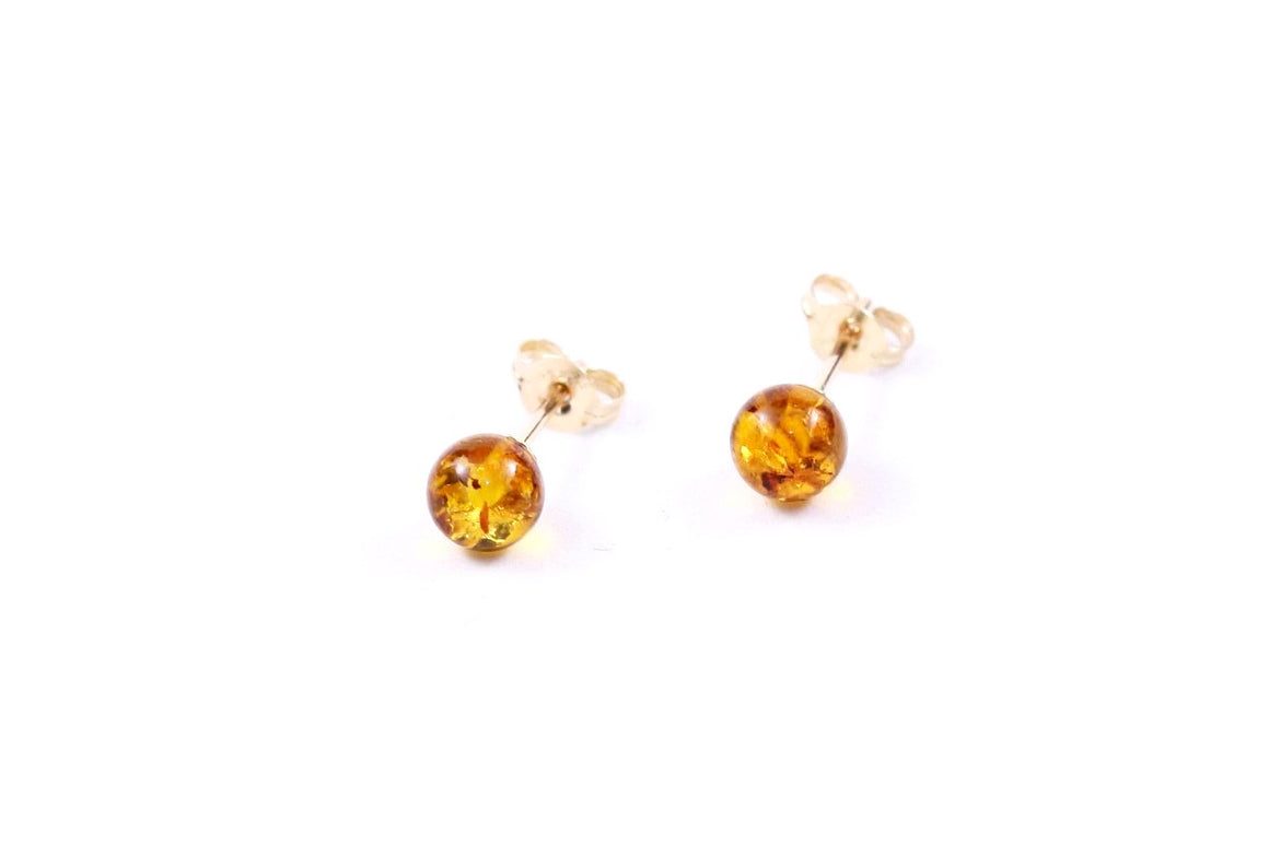 Cognac Baltic Amber Stud Earrings with 9ct Gold