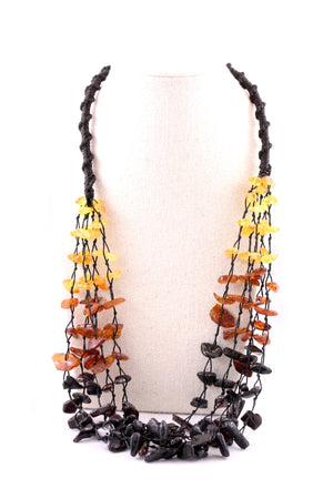 Rainbow Baltic Amber Hand Beaded Necklace