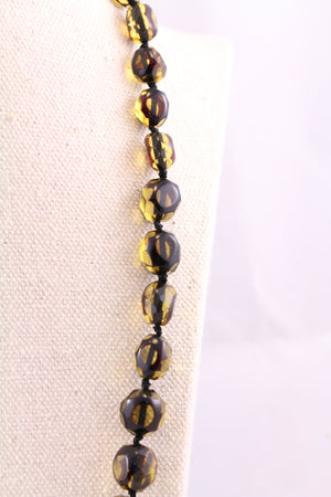 Facetted Green Baltic Amber Bead Necklace