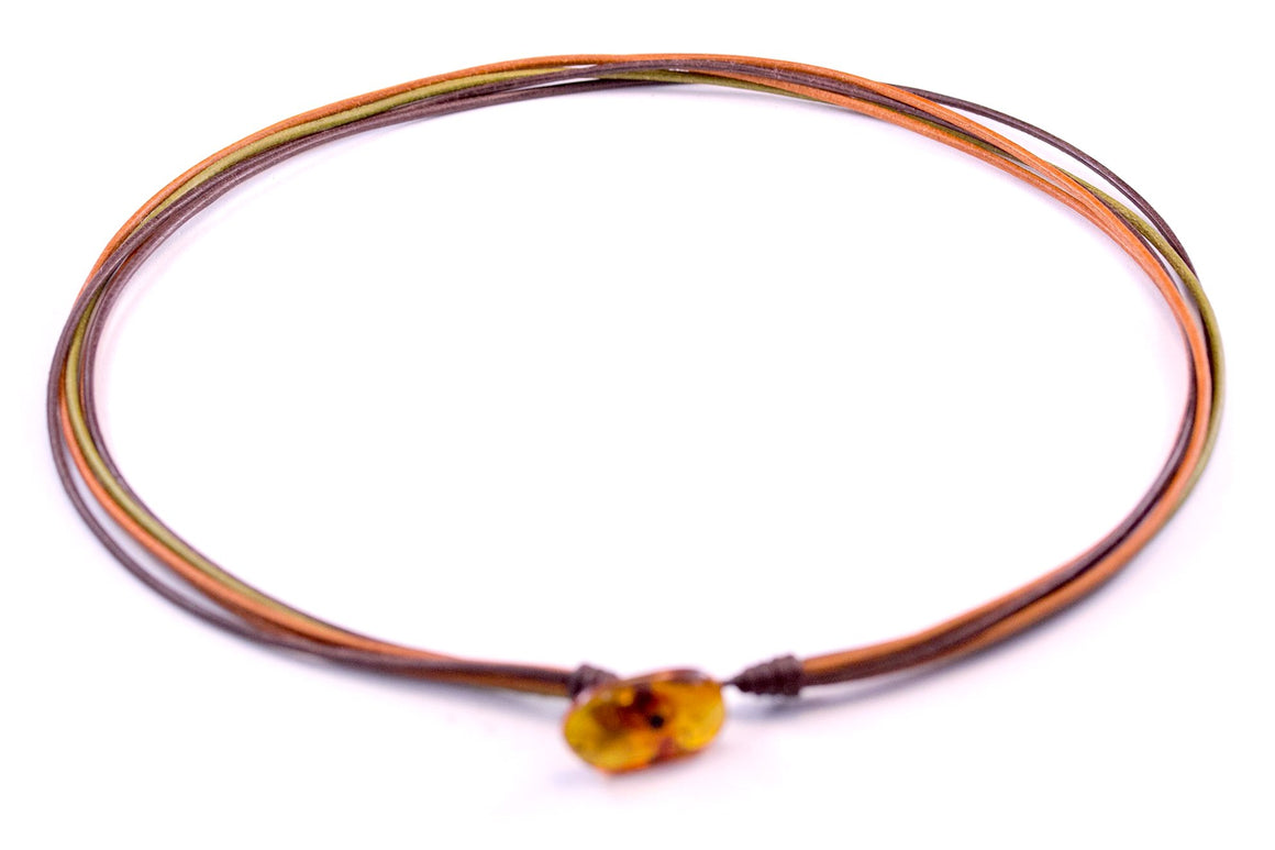Multicolour Leather Necklace with cognac Amber clasp