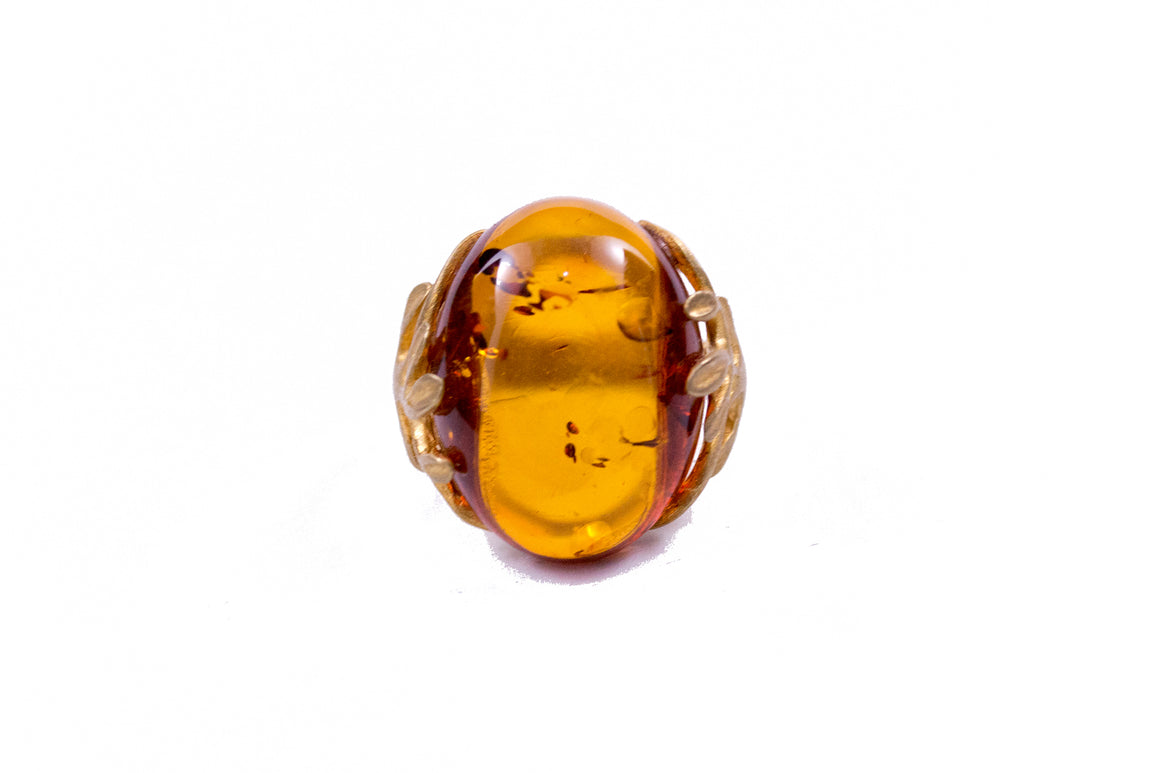 Cognac Baltic Amber and Gold Plated Sterling Silver Ring