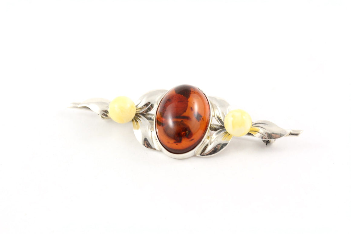 Classic Baltic Amber and Sterling Silver Bar Brooch