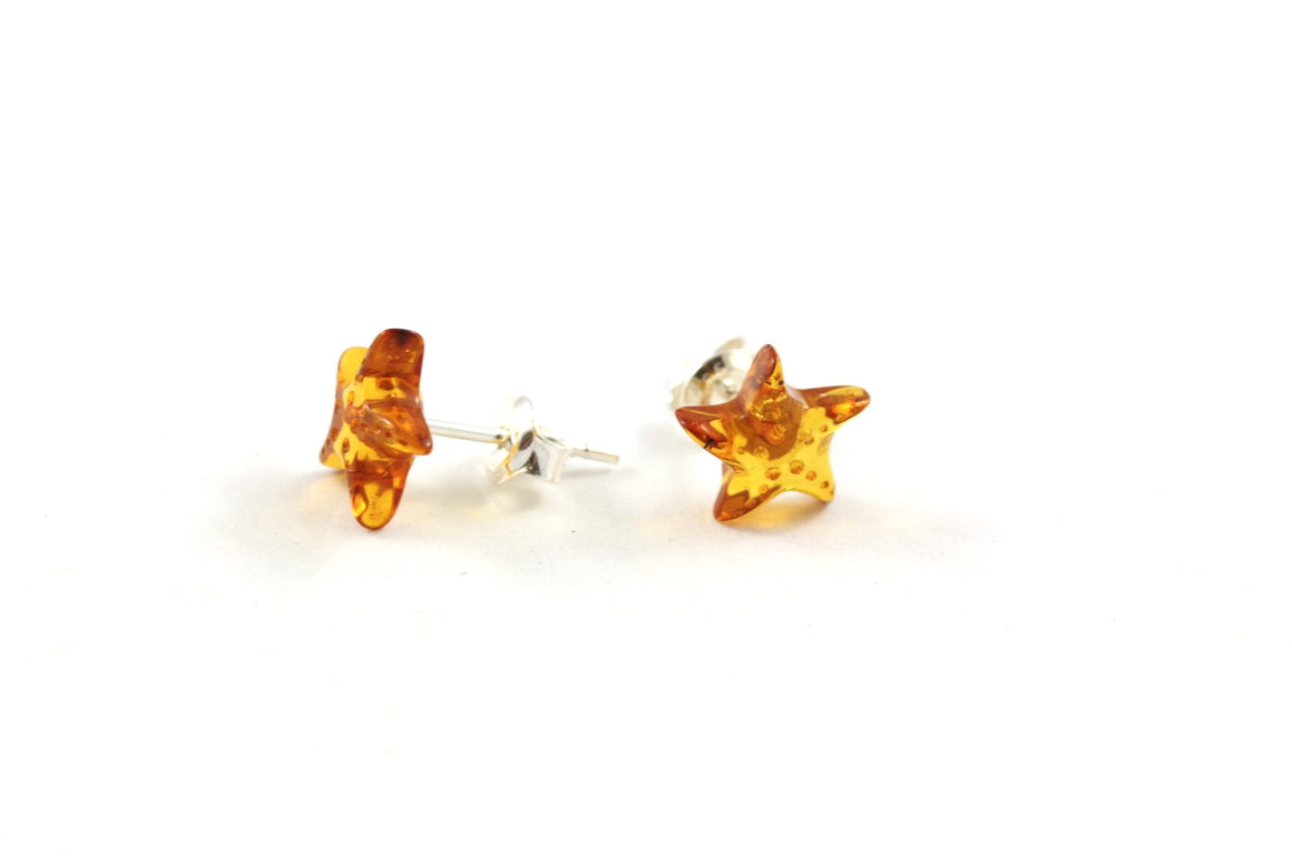 Cognac Baltic Amber and Sterling Silver Starfish Stud Earrings
