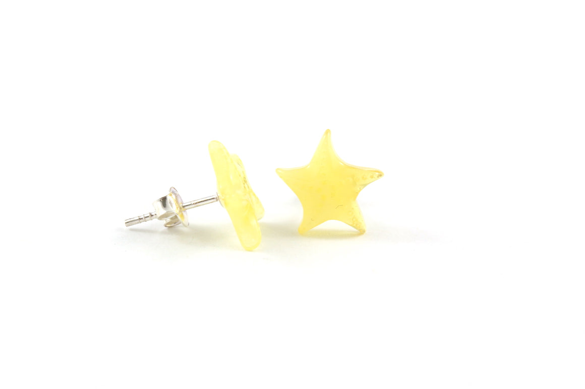 Milky Yellow Baltic Amber and Sterling Silver Starfish Stud Earrings