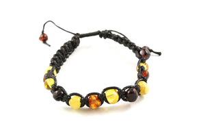 Multi Baltic Amber Adjustable Bracelet