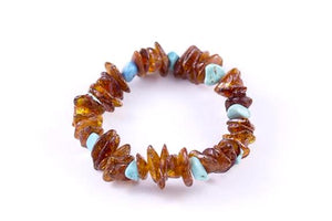 Cognac Baltic Amber with Turquoise Mix 'n Match Stackable Bracelet