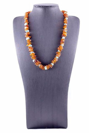 Cognac Baltic Amber with Turquoise Casual Necklace